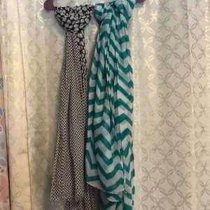 Polka dot and chevron scarves